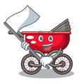 with flag modern baby stroller isolated against vector image