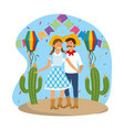 woman and man with party banner and lanterns vector image