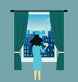 woman or girl near open window with landscape view vector image vector image