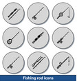 light fishing rod icons vector image