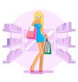 shopping bag package girl in shop shelves goods vector image