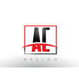 ac a c logo letters with red and black colors and vector image vector image