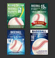 baseball poster set design for sport bar vector image