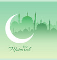 beautiful eid mubarak mosque scene with crescent vector image vector image