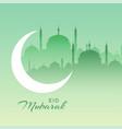 beautiful eid mubarak mosque scene with crescent vector image vector image