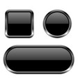 black buttons 3d glass icons with chrome frame vector image vector image