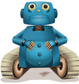 Blue robot with wheels vector image vector image