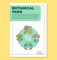botanical park poster template layout autumn vector image