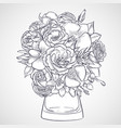 bouquet lisianthus and orchid flowers vector image