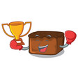 boxing winner brownies mascot cartoon style vector image vector image