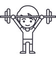 boy weights up line icon sign vector image vector image