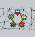 brics union members national flags on gears vector image vector image