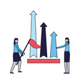business women with flag and chart arrows vector image