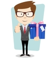 Businessman with colorful gift boxes giving the vector image
