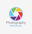 camera professional logo color shutter vector image vector image