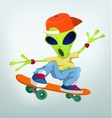 Cartoon Alien Skateboarding vector image vector image