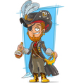 Cartoon bearded pirate with rum vector image vector image