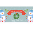 cartoon snowmen with mistletoe wreath vector image