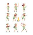 children scouts cartoon kids in scout uniform vector image vector image