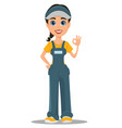 courier woman smiling and showing ok sign vector image vector image
