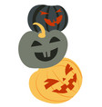 eerie pumpkin faces carved jack o lanterns on vector image