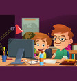 father and son working on a computer vector image