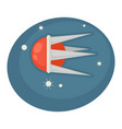 flying spaceship in round shape with sharp frame vector image vector image