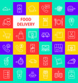 food delivery line icons vector image