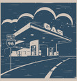 gas station on the road old poster vector image vector image