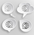 Globe and phone White flat buttons on gray vector image vector image