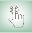 hand click on button brown flax icon on vector image vector image