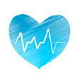 hatch heart with pulse symbol stock vector image