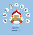 house insurance services with lifebuoy vector image vector image