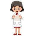 little girl holding white paper vector image vector image