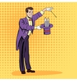 Magician pulling out a rabbit vector image vector image
