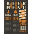 menu for the pub for bottled and draft beer vector image vector image