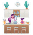 mother and daughter cooking vector image