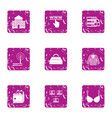 online library icons set grunge style vector image