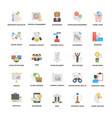pack of business management elements flat icons vector image