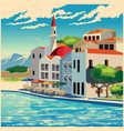picturesque quay old poster vector image vector image