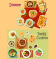 Restaurant dinner dishes icon for menu design vector image