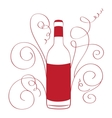 Retro Wine Bottle with curves vector image