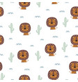 seamless pattern with cute lion on white vector image vector image