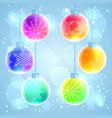 set of 6 colorful rainbow christmas balls vector image