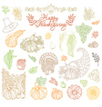 set of outlined Thanksgiving design elements vector image