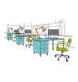 Sketch interior design comfortable workplace vector image vector image