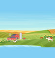 summer warm weather farm coutryside landscape with vector image vector image