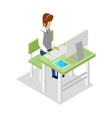 teacher teaching informatics isometric 3d icon vector image vector image