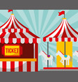 ticket booth and carousel carnival fun fair vector image
