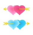 two love gay hearts vector image vector image